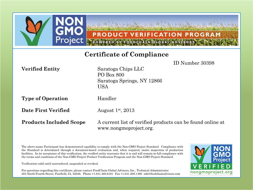 Saratoga Chips Are Now Non Gmo Certified Saratoga Chips
